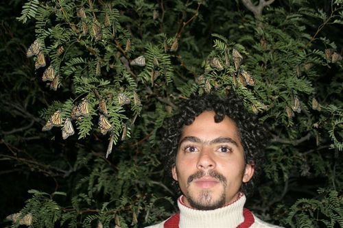 Thaib con un manto de Monarcas - Foto Luis Miranda